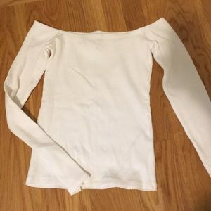 off the shoulder white long sleeve top
